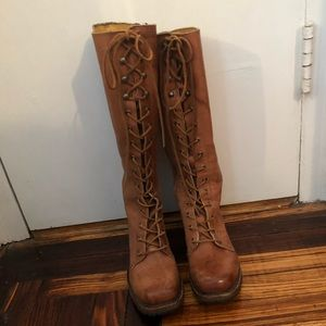 Frye Lace Up Boots in Saddle